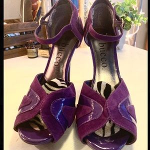 Two-Toned Purple Heels With Zebra Print Interior